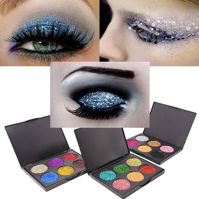 Womens Diamond Sequins Eye Shadow Plate 6 Color Shiny Glitter Luster Makeup Palettes Eyeshadow For Beauty