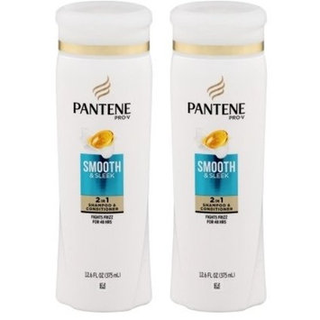 Pantene Pro-V Smooth & Sleek 2-in-1 Shampoo Plus Conditioner, 12.6 Fluid Ounce (Pack of 2)