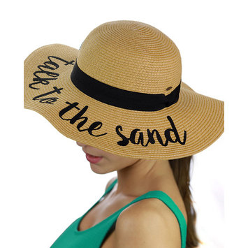 C.C Women's Paper Weaved Crushable Beach Embroidered Quote Floppy Brim Sun Hat, Talk to the Sand