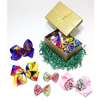 Sparkly Sequin & Rhinestone Fancy Hair Bow Clips Gift Set for Girls (Purple, Pink, Yellow & Tie Dye)