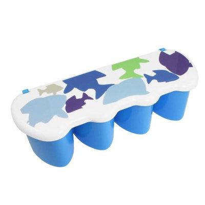 Plastic 4 Compartment Spice Flavor Condiment Container Box Blue w Spoon
