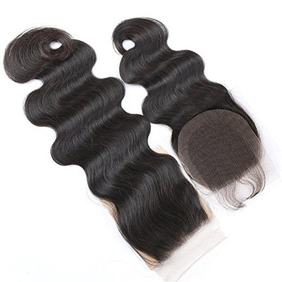 Boby Wave 4x4 Free Part Lace Closure with Baby Hair Natural Black Brazilian Virgin Human Hair Closures No Bleached Knots (18 inch)