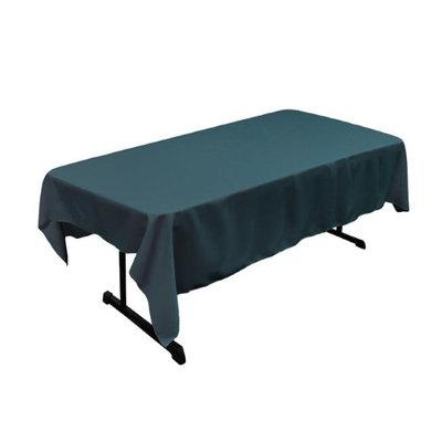 LA Linen TCpop60x90-TealDrkP82 Polyester Poplin Rectangular Tablecloth Teal Dark - 60 x 90 in.