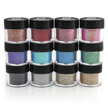 Cosmetic Fine Glitter Powder Kit (6 PK)- Safe for eyeshadow, make up, body and nails.