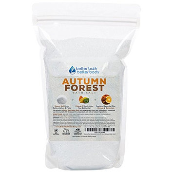 Autumn Forest Bath Salt 32oz (2-Lbs) Epsom Salt Bath Soak With Orange & Cinnamon Essential Oil Plus Vitamin C - Evoke Cozy Autumn Memories With All Natural Bath Salts