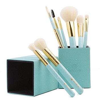 amoore 8 pcs Makeup Brush Set with Makeup Brushes Holder Foundation Brush Powder Brush for Blush Eyeshadow Eyelash Eyebrow and Lip