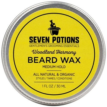 Seven Potions Beard Wax 1 oz. Natural And Organic Beard Styling Wax For Medium Hold. Shape And Nourish Your Beard While Looking Natural. Doesn't Make The Beard Stiff