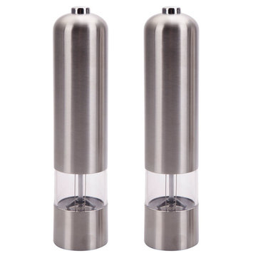 Ktaxon 2pcs Electric Spice Sauce Salt Pepper Stainless Steel Mill Grinder With Light