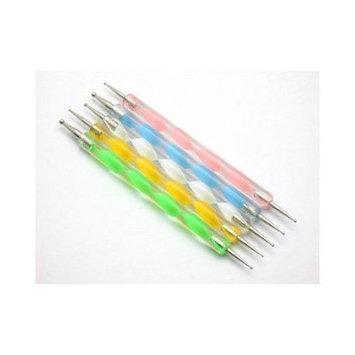 CAETLE 5 X 2 Way Marbleizing Dotting Pen Set for Nail Art Manicure Pedicure
