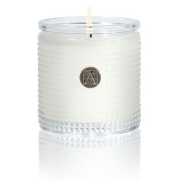 White Teak Textured Glass Candle