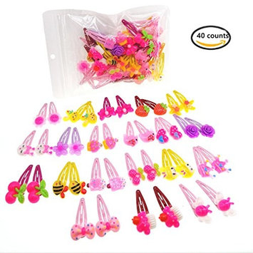 40 Pcs (20 pairs) Girls' Cartoon Barrettes Kids Metal Snap Clips Toddlers' Hair Clips