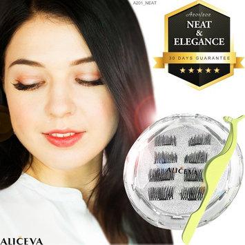 Aliceva Magnetic Eyelashes x8 [Neat & Elegance] for Natural Look - New Premium Magnet Quality/Best 3D False Reusable Eyelash 8 piece + Magnet Dot Case + Metal Eyelash Tweezers (Neat & Elegance)