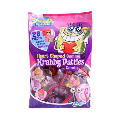 SpongeBob Krabby Patties Heart Shaped Gummy Candy Valentine Exchange 28 ct