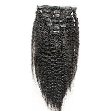 Double Weft 100% Remy Human Hair Clip in Extensions Grade 7A Full Head Kinky Straight 7pcs 120G for Women 18inch