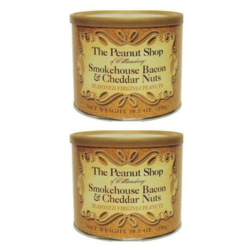The Peanut Shop of Williamsburg Smokehouse Bacon & Cheddar Peanuts, 10.5-Ounce Tin (Pack of 2)