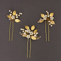 FXmimior Bridal Women Leaf Vintage Wedding Party Hair Pins Crystal Hair Accessories( pack of 3) (G