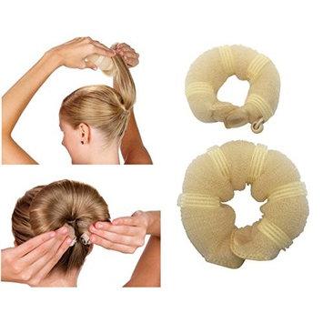 JJMG New Hair Bun Maker Hair Donut Foam Sponge Clip French Twist, Ring Style Bun 2-pcs Large & Small Helps Create a Full Fashionable Bun that Looks Perfect