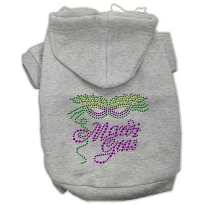 Mirage Pet Products 5447 SMGY Mardi Gras Rhinestud Hoodies Grey S 10