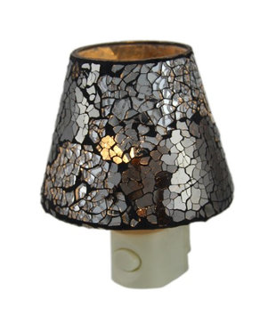 Zeckos Crackled Silver Mirrored Glass Plug In Night Light
