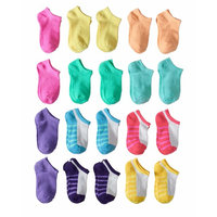 Contrast Sole No Show Socks, 20 Pairs (Little Girls & Big Girls)