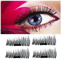 Meinaier 3D Reusable No Glue Ultra Thin Magnetic False Eyelashes Extension for Natural Handmade Cruelty Free Best Magnetic Fake Lashes ?1 Pair 4 Pieces ?