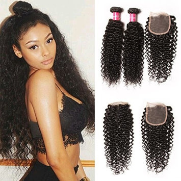 Longqi Beauty Unprocessed Brazilian Curly Virgin Human Hair Weave 3 Bundles with 1 piece Free Part Lace Top Closure 100% Human Hair (8 10 12 with closure 10, Natural Color)