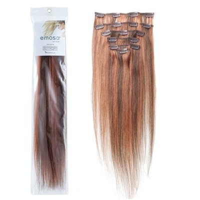 Emosa 100% Real Full Head Remy Human Hair Clip In Extensions(#4/30,70g,20inch,Medium Brown with Light Auburn)