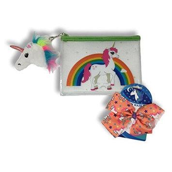 Girls Unicorn/Rainbow Beauty Bag with Plush Unicorn Head Bag Clip & Unicorn Hair Bow