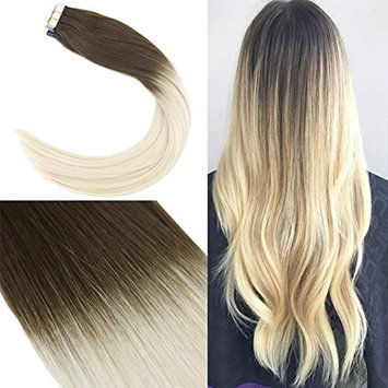 Youngsee 16 Inch Ombre Tape in Hair Extensions Real Human Hair 20PCS 50G Two Tone Dark Brown to Blonde Remy Extensions Tape in Human Hair []