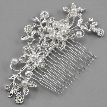 Leegoal Bridal Wedding Jewelry Crystal Rhinestone Pearl Flowers Hair Comb Pin Silver