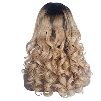 Royal-First Glueless Brazilian Virgin Human Hair Lace Front Wavy Wigs for Women 18inch Long #1b/#27 Two-toned Ombre Color 150% Density Medium Size Cap
