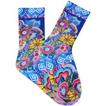 K Bell Laurel Burch Socks-Cat With Flowers - Purple