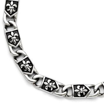 Chisel Stainless Steel Polished Antiqued Fleur De Lis Bracelet - 10mm