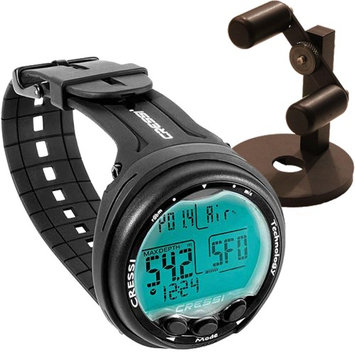 Cressi Giotto Dive Computer, Scuba Diving Instrument Black / Black w/ Watch Stand