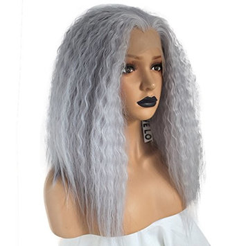Anogol Hair Cap+Gray Lace Front Wig Shoulder Length Yaki Synthetic Hair Kinky Curly Wigs For Women