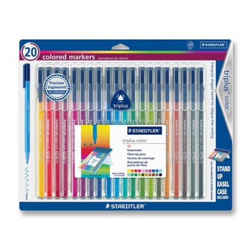 Staedtler, Inc. Triplus Markers, Water-Based Ink, Fiber-Tip,20/Pack, Assorted