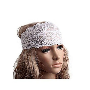 1PC White Elastic Fashion Hairband Headwear Nonslip Hair Band Sport Yoga Lace Wide Headband Turban Bohemian Headscarf Wrap Hair Accessories For Women Girls
