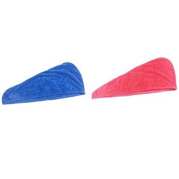 Silfrae Soft Microfiber Hair Drying Towel Wrap Turban with Elastic Loop For Women 3 Colors (Pink+Blue)