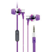 Cliptec Purple GHallo Music Stereo 3.5mm Wired In-Ear Headphones Noise Isolation In-line Control Mic