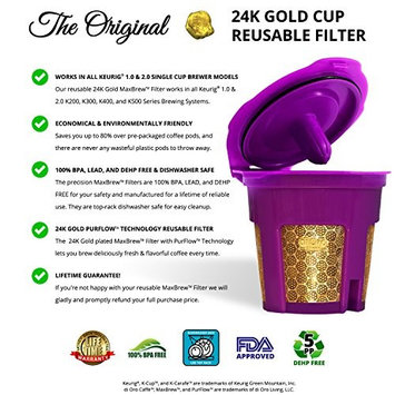 DI ORO MaxBrew 24K GOLD K-Cup Reusable Filter for Keurig 2.0/1.0 Small Single K-Cup - Forever Warranty