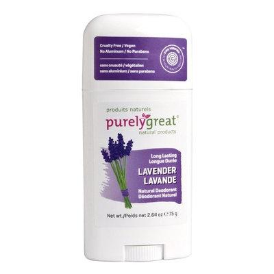 Purelygreat Natural Deodorant Stick - Lavender - EWG Verified - Vegan, Cruelty Free - No Aluminum, No Parabens - Essential Oils