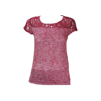 Eyeshadow Wine Lace-Panel Short-Sleeve Top XS