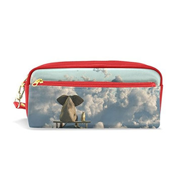 Vantaso Pencil Bag Elephant and Dog Sit On Mountain Top PU Leather Cosmetic Bag Travel Makeup Pouch for Women Children Students