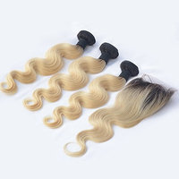 Choshim Hair Brazilian Remy Human Hair Dark Roots Blonde 1BT613 Ombre Body Wave Hair Extensions 3 Bundles with 1 Free Part 4x4 Closure(18 20 22 with 18inches)