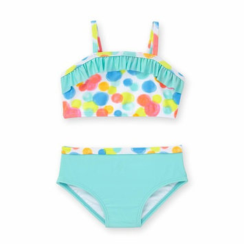 Baby Girl Circle Print Ruffle Bikini Swimsuit