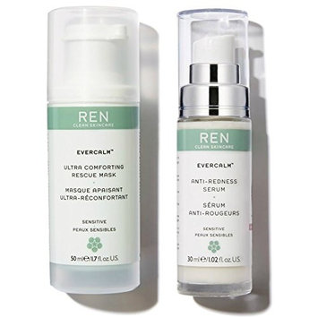 REN Skincare Evercalm Ultra Comforting Rescue Mask and Evercalm Anti-Redness Serum Bundle with Shea Butter, Jojoba Seed Oil, and Rosemary Leaf Extract, 1.7 fl. oz. and 1.02 fl. oz. each