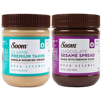 Soom Foods Pure Ground Sesame Tahini Paste Two Flavor Sampler: (1) Sesame Tahini 11oz and (1) Chocolate Sesame Tahini Spread 12oz