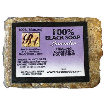 RA Cosmetics 100% Natural Black Soap with Lavender 5oz