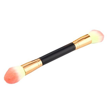 Dovewill Wood Handle Double Ended Eyebrow Brush Eyeshadow Powder Blush Makeup Tool