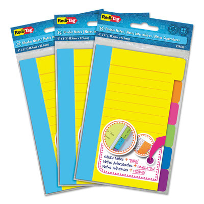 Redi-Tag 10245 Divider Sticky Notes With Tabs, Assorted Colors, 60 Sheets/Set, 3 Sets/Box